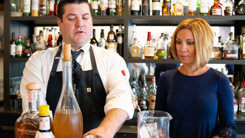 the confident rabbit and community bank of the chesapeake make a cocktail for a downtown affair 2019 in fredericksburg, virginia